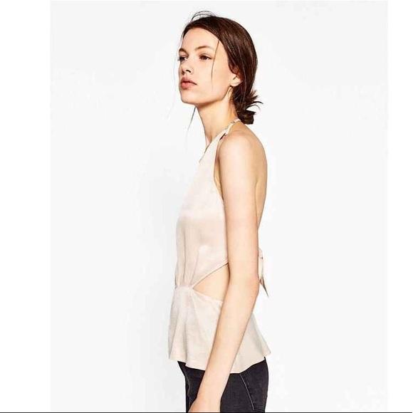 Zara Tops - Zara Nude Satin Backless Halter Peplum Flounce Top